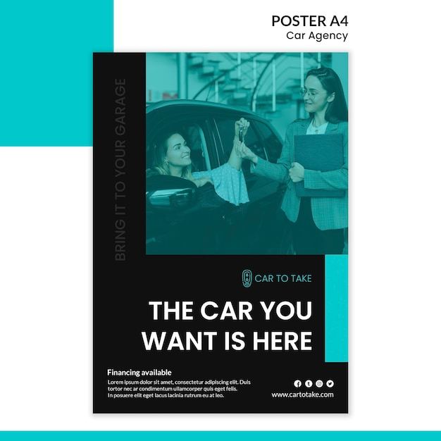 Car agency poster template Free Psd