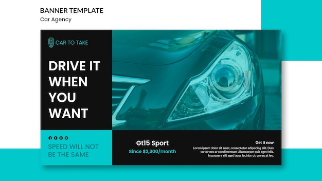 Car agency promo banner template Free Psd