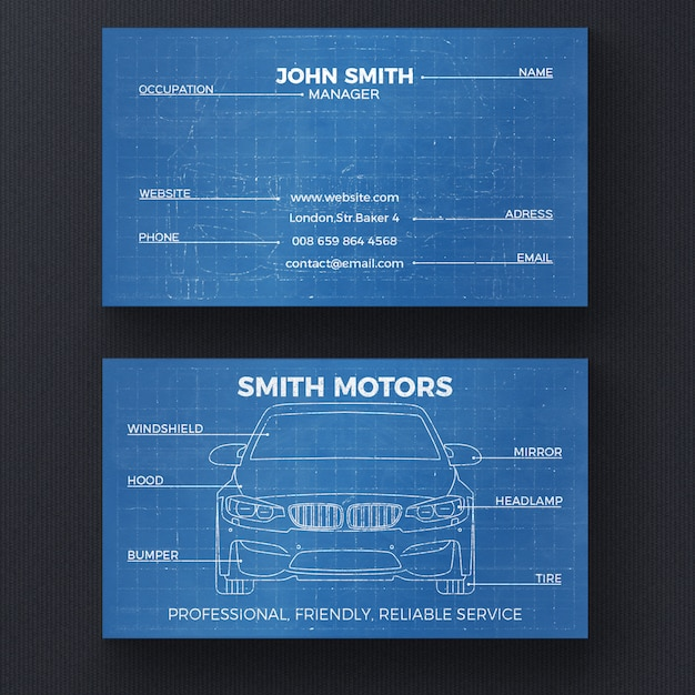 Car blueprint business card template psd file free download car blueprint business card template free psd reheart Images