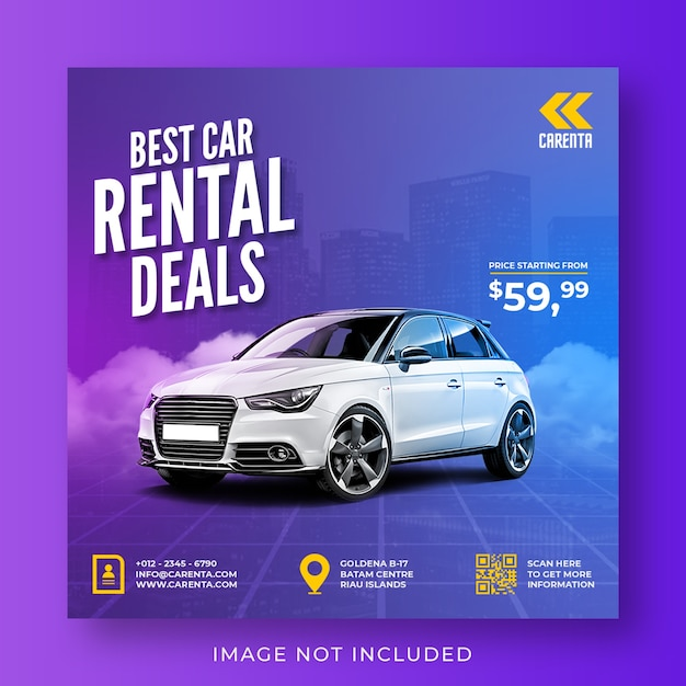 Car rental promotion social media instagram post banner template