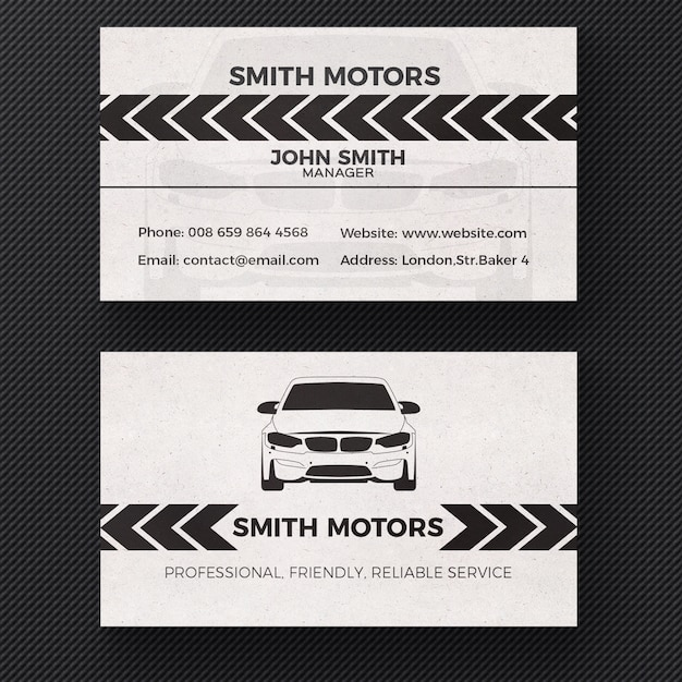 Car service business card Free Psd