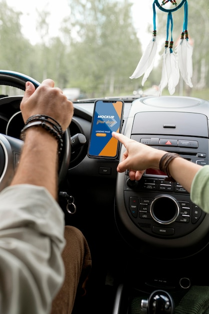 Макет концепции путешествия автомобиля Premium Psd