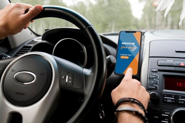 車の旅のコンセプトのモックアップ Premium Psd