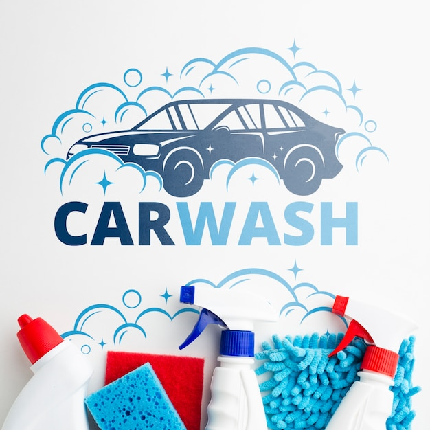 Car wash background with cleaning tools Free Psd
