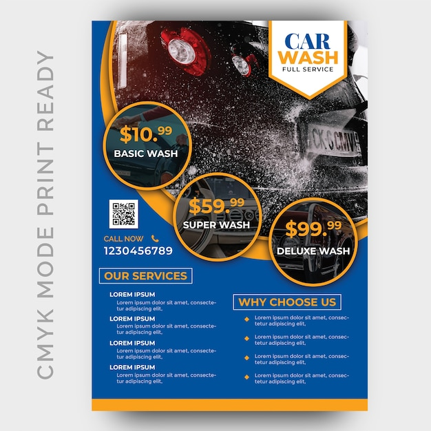 Car wash business flyer design template Premium Psd