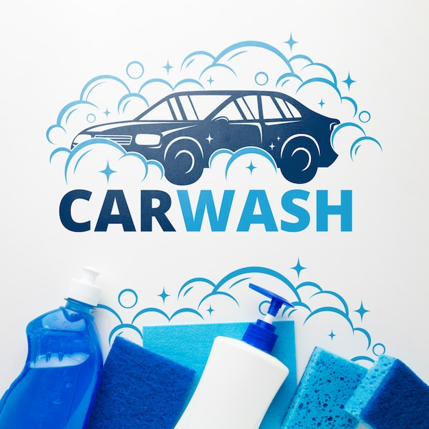 Car wash concept with washing liquids Free Psd