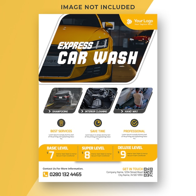 Car washing flyer template Premium Psd