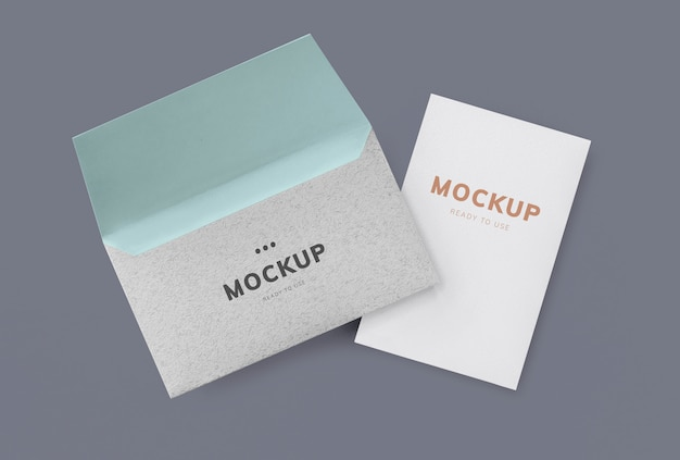 Card and envelope mockup Free Psd