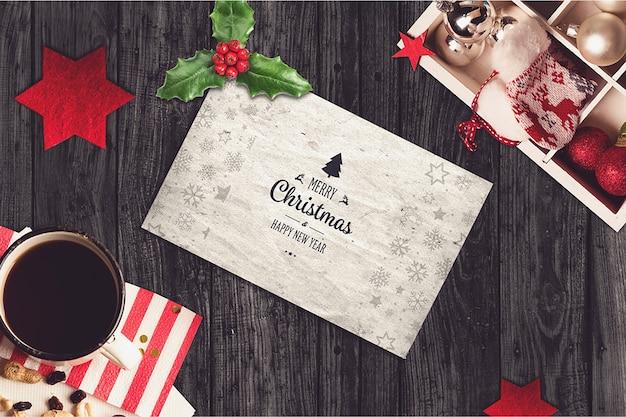 Макет карты с рождественским дизайном Premium Psd