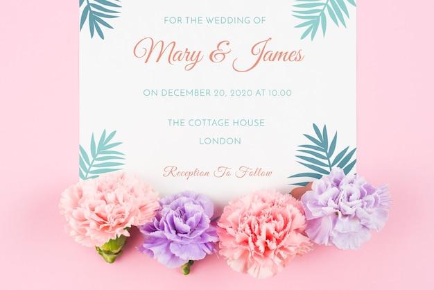 Карточный макет с розами на свадьбу Бесплатные Psd