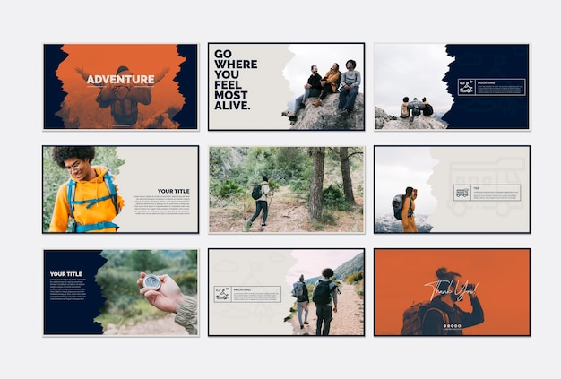 Card template collection with adventure concept Free Psd