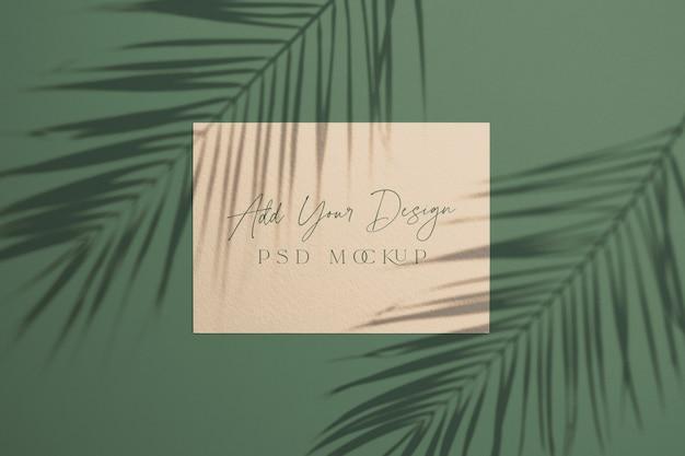 오버레이 그림자 팜 잎 카드 프리미엄 PSD 파일