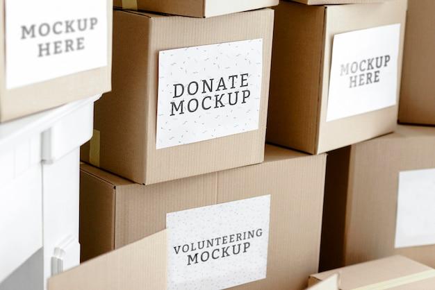 Картонные коробки с продовольственными пожертвованиями Бесплатные Psd