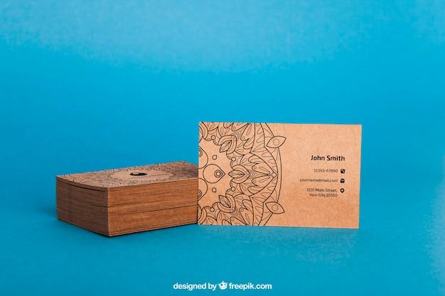 Cardboard business card mockup Free Psd