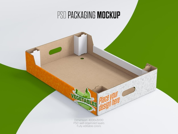 Cardboard tray box for vegetables