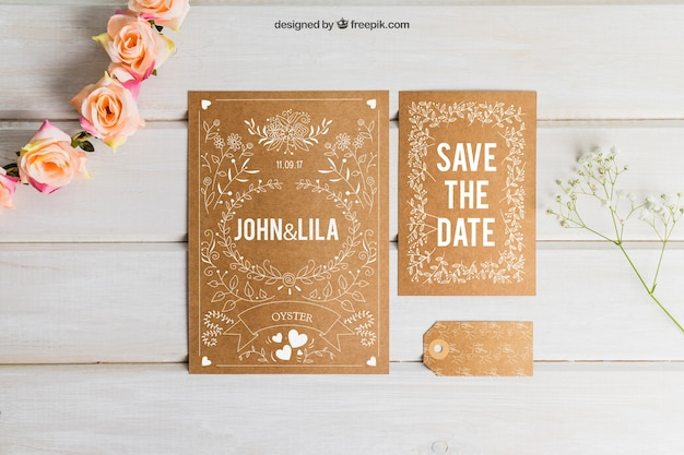 Cardboard wedding set Free Psd