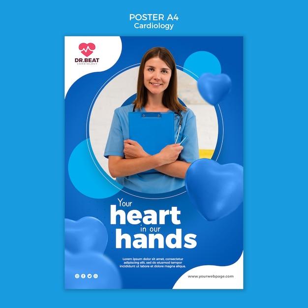 Шаблон печати плаката кардиологии здравоохранения Бесплатные Psd