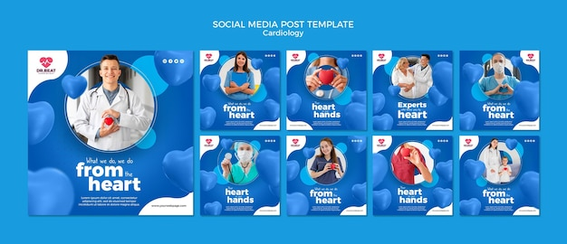 Сообщение в социальных сетях о кардиологии Premium Psd