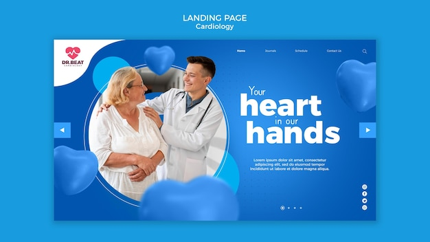Целевая страница кардиолога и пациента Бесплатные Psd