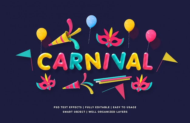 Carnival 3d text style Premium Psd
