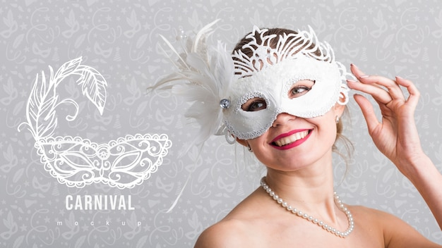 Carnival mockup with image of woman Free Psd