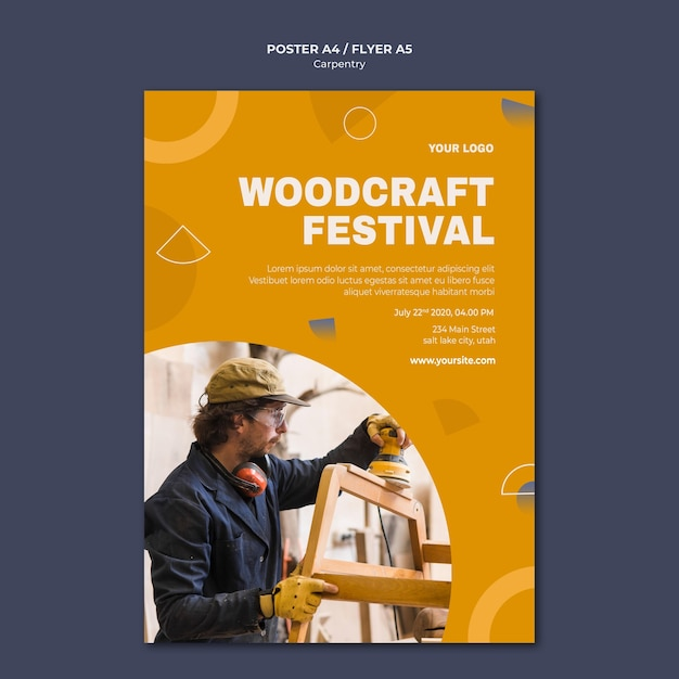 Carpenter ad poster template Free Psd
