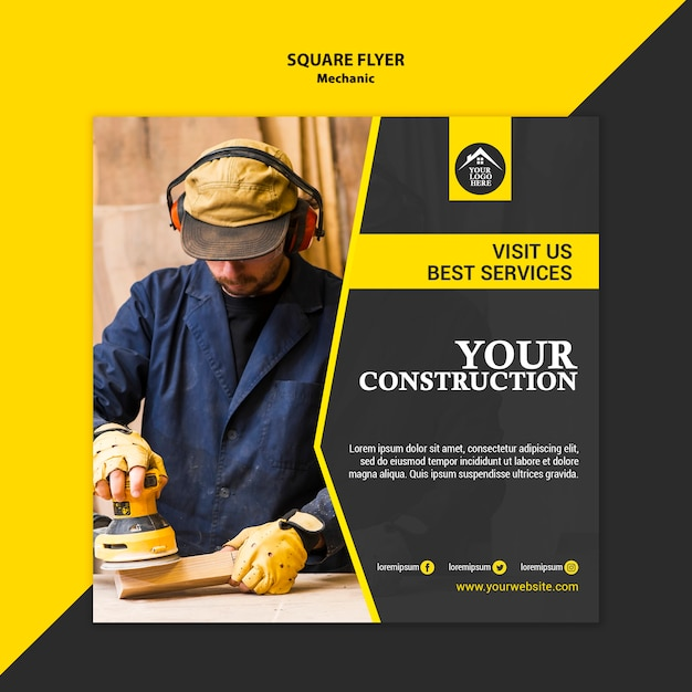 Carpenter manual worker handyman square flyer Free Psd