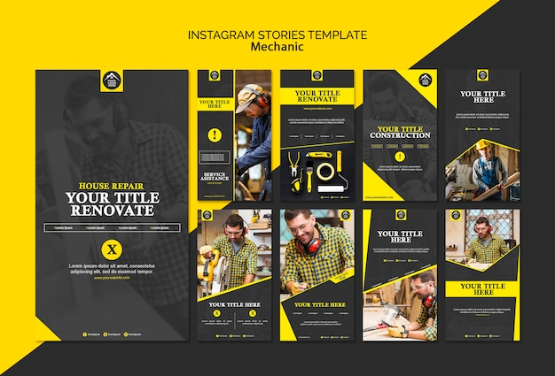 Carpenter manual worker instagram stories Free Psd