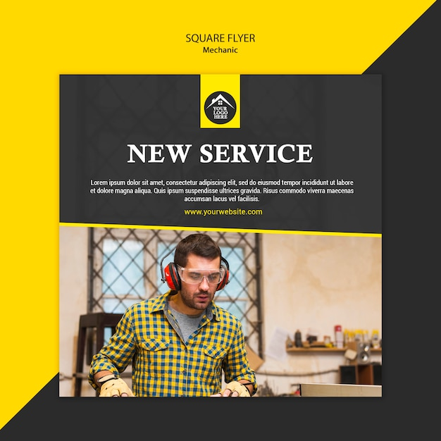 Carpenter manual worker new service square flyer Free Psd