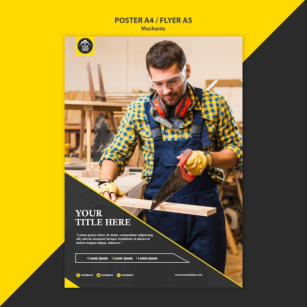 Carpenter manual worker poster template Free Psd