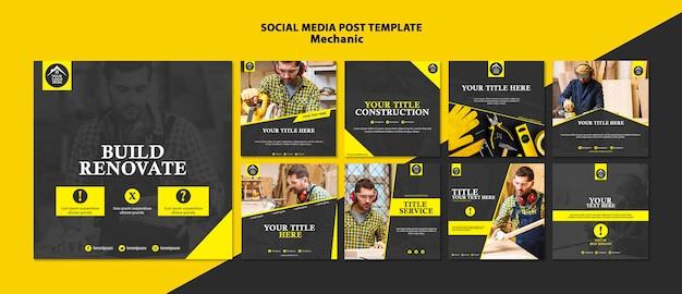 Carpenter manual worker social media post Free Psd