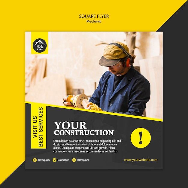 Carpenter manual worker square flyer template Free Psd