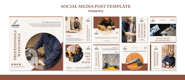 Carpentry concept social media post template Free Psd