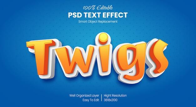 Мультяшный 3d текстовый эффект детский стиль Premium Psd