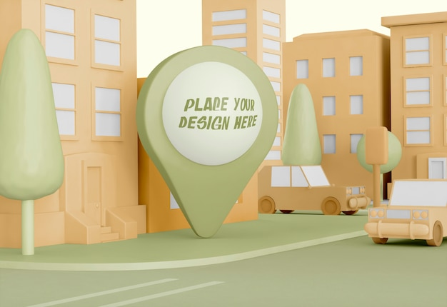 Cartoon city with map pointer mockup Free Psd