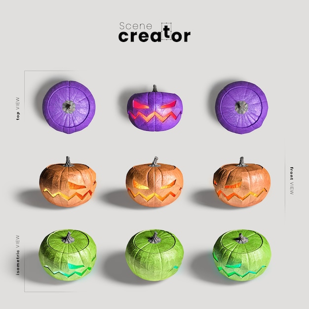 Carved pumpkin variety of angles halloween scene creator Free Psd