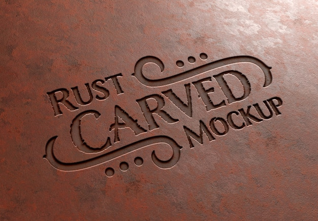 Carved text effect in rusted metal texture mockup Premium Psd