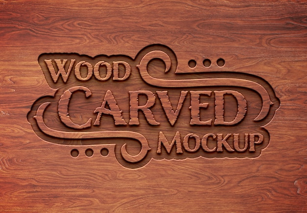 Carved wood text effect mockup Premium Psd
