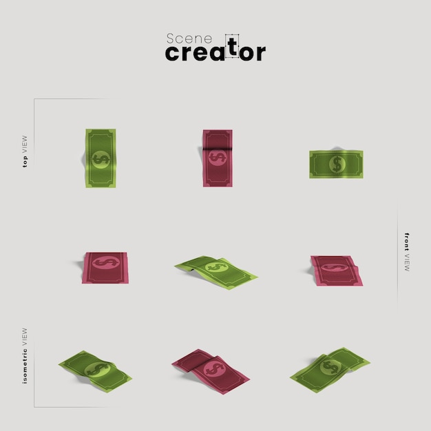 Cash money various angles for scene creator illustrations Free Psd