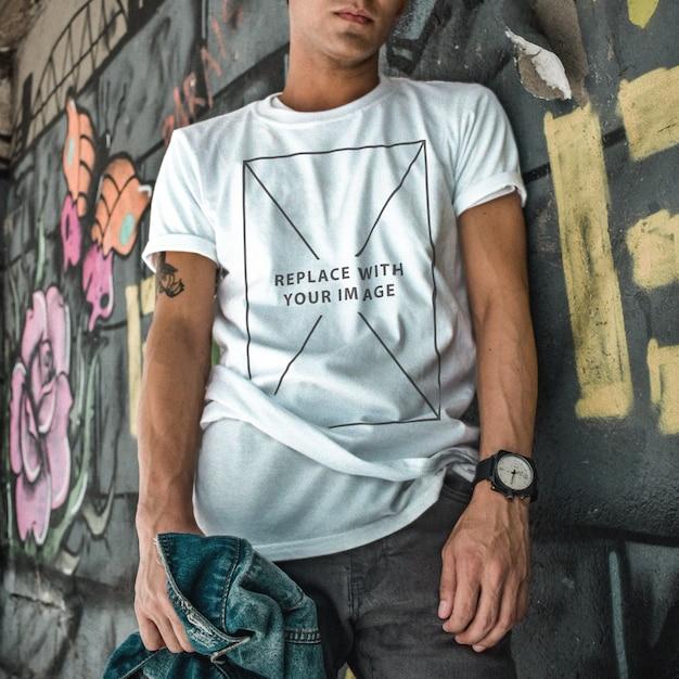 Шаблон повседневной одежды футболка макет Premium Psd