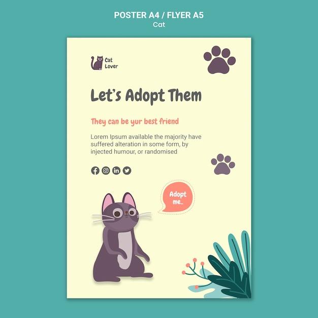 猫の養子縁組ポスターテンプレート 無料 Psd