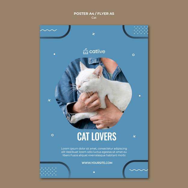 Дизайн листовки для любителей кошек Бесплатные Psd
