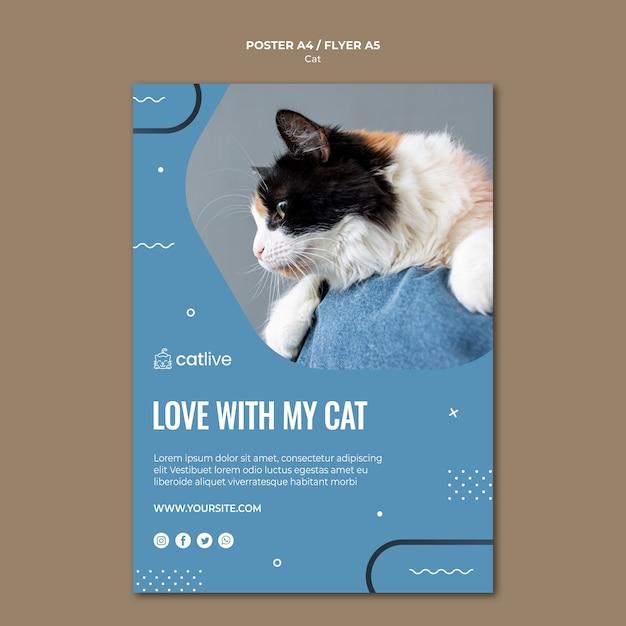 Стиль плаката для любителей кошек Бесплатные Psd