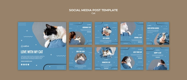 Posta di social media di concetto dell'amante del gatto Psd Gratuite