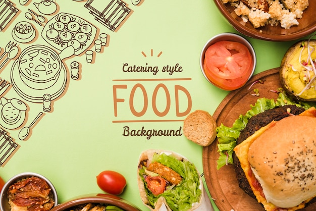 Catering food background with copy space Free Psd