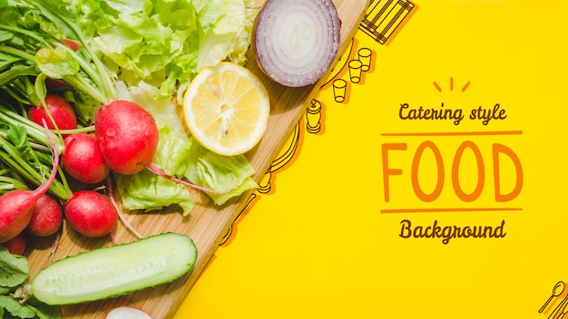 Catering food prepared with fresh vegetables Free Psd