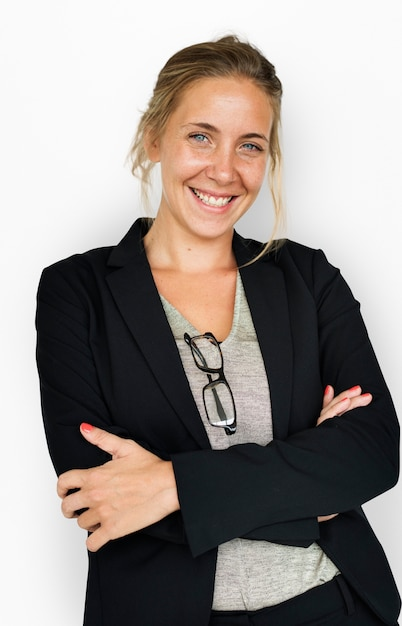 Caucasian business woman smiling Premium Psd