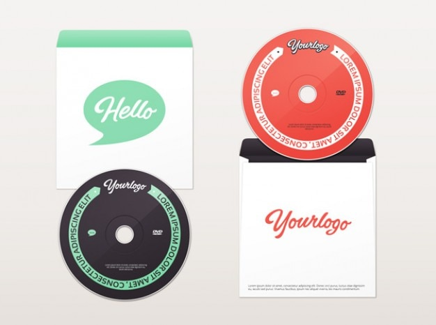 Cd and DVD envelope mockup in two colors Free Psd