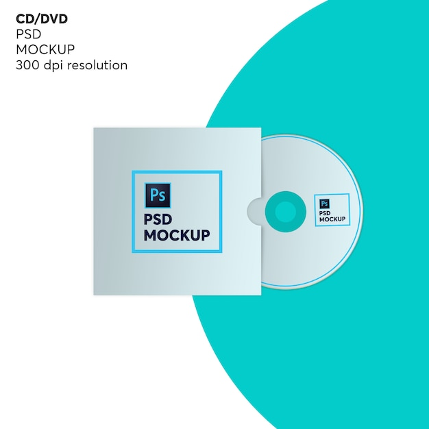 Cd disc with cover mockup Premium Psd