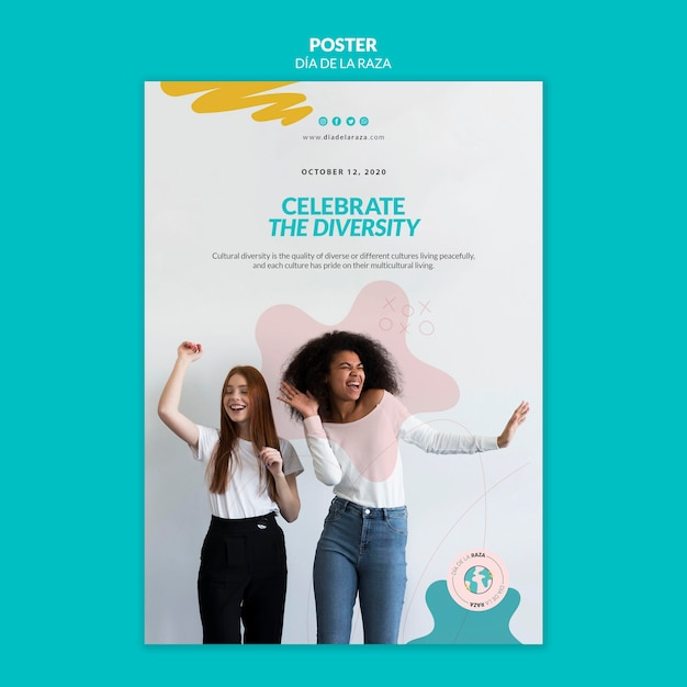 Celebrate the diversity poster template Free Psd